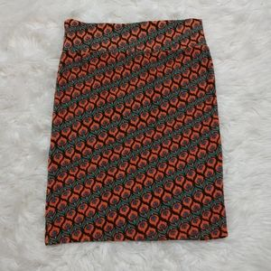 LLR LuLaRoe Peacock Floral Cassie Pencil Skirt L